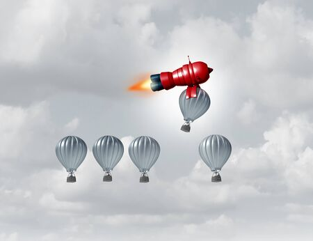 Business accelerator success metaphor as a symbol for supporting an individual 3D illustration.