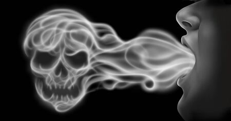 Vaping danger and toxic air health risk as a person exhaling steam smoke or vapor shaped as a human skull from an electronic cigarette in a 3D illustration style. Stock Photo