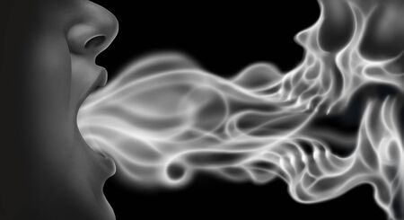 Vaping related disease health risk as a person exhaling steam smoke or vapor shaped as a death skull from an electronic cigarette in a 3D illustration style.