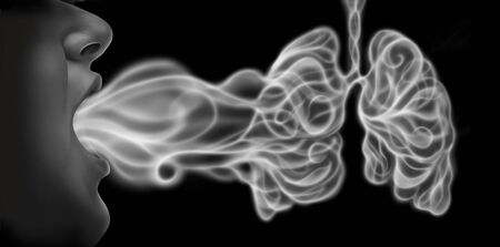 Vaping and lung disease health risk as a person exhaling steam smoke or vapor shaped as human lungs from an electronic cigarette in a 3D illustration style. Reklamní fotografie