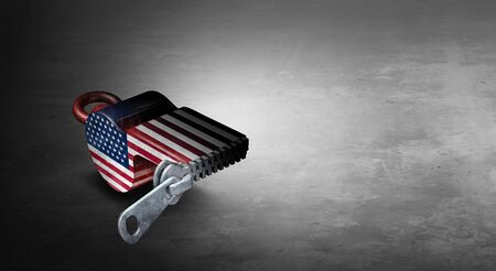 United States freedom of the press or deep state and deepstate US politics and  censorship of free speech in the United States concept as a symbol for media suppression as a 3D illustration.