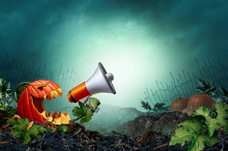 Halloween promotion background in a creepy night background as zombie pumpkin with leaf arms emerging holding a bullhorn announcing a festive autumn message with 3D illustration elements.