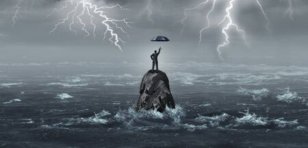 Geschäftsregenschirm, der von einem Geschäftsmann in einem Sturm mit Donner und Blitz gehalten wird, als Unternehmenskrisenmetapher für finanzielle Sicherheit oder Schutzidee mit 3D-Illustrationselementen. Standard-Bild