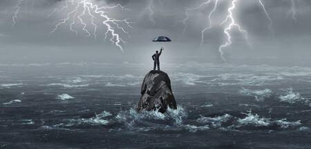 Parapluie d'entreprise tenu par un homme d'affaires dans une tempête avec du tonnerre et des éclairs comme métaphore de crise d'entreprise pour une idée de sécurité financière ou de protection avec des éléments d'illustration 3D. Banque d'images