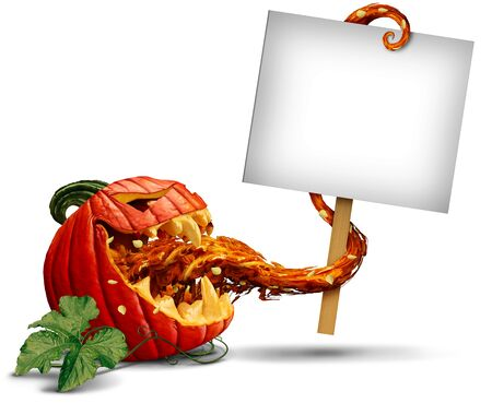 Jack o lantern evil pumpkin zombie holding a blank sign card with a tongue as a creepy halloween or scary symbol on a white background..