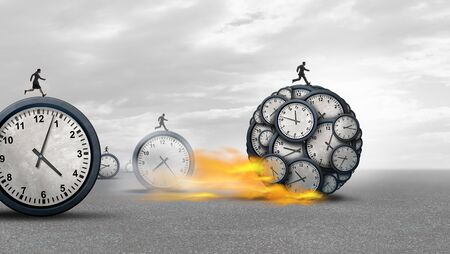 Managing time success as a business management concept as a group of businesspeople in a race to win with 3D illustration.