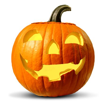 Halloween pumpkin on a white background as a jack o lantern seasonal symbol as a carved gourd with a friendly smile as a glowing orange squash as a traditional trick or treat icon. Stock Photo