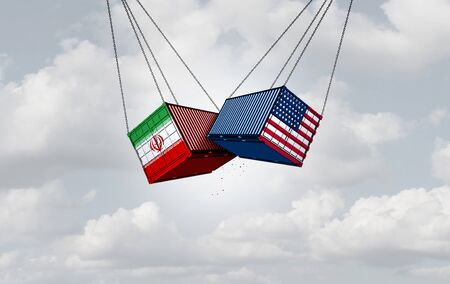 Iran United States conflict as economic sanctions between Iranian and American goverments as a 3D illustration.