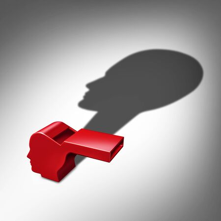 Whistleblower or whistle blower exposing information concept as a symbol of a secret informer agent or employee leaker with a cast shadow as a metaphor for inside info as a 3D illustration.