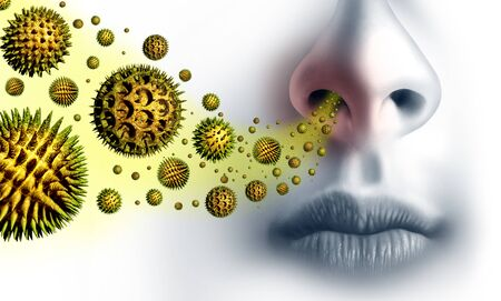 Pollen allergies symptoms and seasonal allergy or hay fever allergy and medical concept as a group of microscopic organic pollination particles flying in the air with a human breathing as a health care symbol with 3D illustration elements.