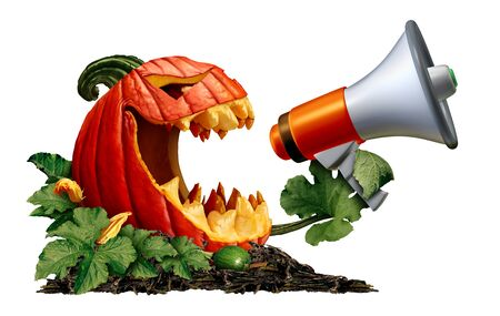 Halloween jack o lantern pumpkin announcer with a scary autumn gourd holding a bullhorn or megaphone to announce news or promote an event or party isolated on white with 3D render elements.