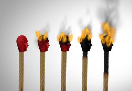 Concept of burnout or career burn out and business stress overworked and burnt from exhaustion as a match icon of an employee exhausted as a work or life concept for overloaded workers as a 3D illustration.