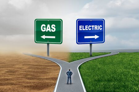 Gas vs electric energy transportation fuel concept as gasoline versus battery technology with 3D illustration elements.