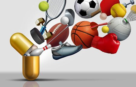 Sports supplements and sport vitamins concept as a capsule with football soccer basketball and exercise equipment inside a nutrient pill as a medicine performance health treatment with 3D illustration elements. Фото со стока