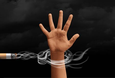Smoking addiction concept and a smoker trapped by cigarette smoke as a handcuff with 3D illustration elements. Imagens