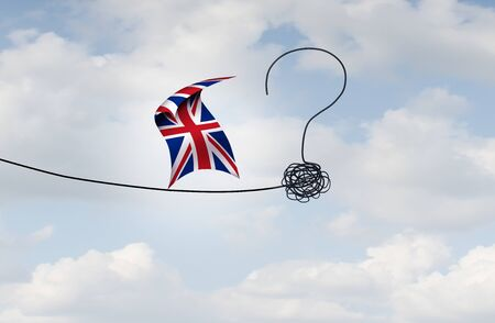 British political uncertainty due to a confused path for a brexit deal in a 3D illustration style.