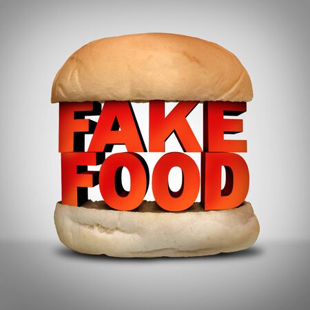 Fake food concept and counterfeit meal as a burger bun with fraudulent ingredients misrepresenting a product at the market as a 3D illustration elements.