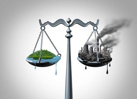 Ley de ecología, evaluación de impacto ambiental y ley de recursos naturales, y toma de medidas legales climáticas y regulaciones de reducción de gases de efecto invernadero con elementos de ilustración 3D.