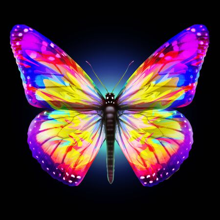 Fantasy Butterfly as a beautiful bright abstract ornamental decorative insect design representing wings of magical butterflies with 3D illustration elements.