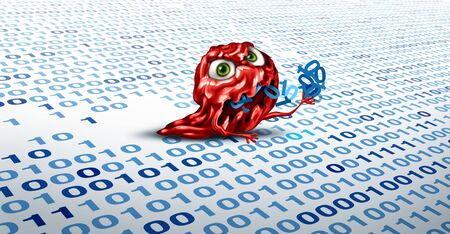 Computer virus malware destroying data and clearing digital code from a hard drive or memory storage server as a hacking or internet security conept as a 3D illustration. 版權商用圖片