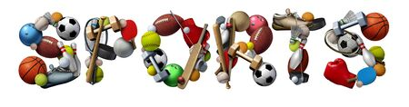 Sports text made with sport objects and fitness equipment with a football basketball baseball soccer tennis and golf ball and hockey puck as recreation and leisure activity for team and individual pla 写真素材