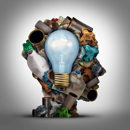 Recycling solution and environmental garbage management to reuse waste as paper glass metal and plastic bottles in a head shape as a symbol for reusable thinking and conservation with 3D illustration elements.