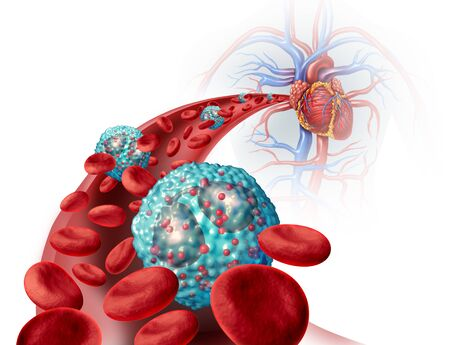 Eosinophil white blood cell inside the human body related to the immune system and allergy or asthma medical condition as cells inside an artery anatomy concept as a 3D illustration.