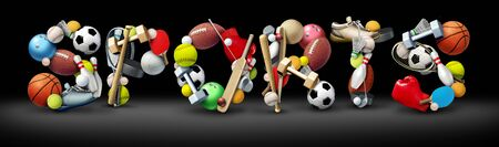 Sports text on a black background with sport equipment as a football basketball baseball soccer tennis and golf ball and hockey puck as recreation and leisure activity for team and individual playing with 3D illustration elements. Stock Photo