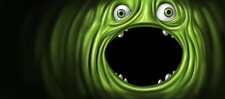 Green monster face as an alien creature with an open mouth as a funny creepy ogre or scary demon with copy space or blank text area as a festive holiday greeting or whacky character screaming with 3D illustration elements. Imagens