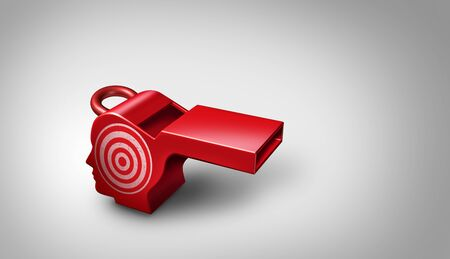 Whistleblower target and whistle blower targeted for exposing corruption and as a red whistle shaped as a human head as a vulnerable leaker or person that exposes private information as a 3D illustration.