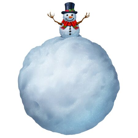 Snowman with text area isolated on a white background as a Christmas card greeting or winter holiday message.