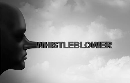 Whistleblower fraud and whistle blower lies as a secret informant that is a liar as a leaker or political trust concept with 3D illustration elements.