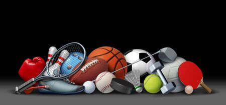 Sport objects on black and sports equipment with a football basketball baseball soccer tennis and golf ball and badminton hockey puck as recreation and playing a leisure activity with 3D illustration