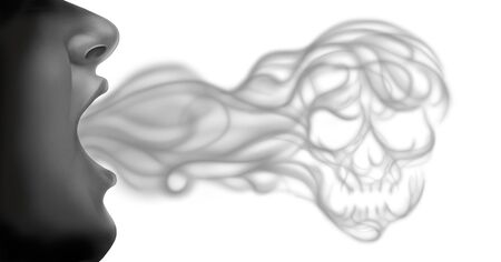 Vaping death and lung disease health risk as a person exhaling steam smoke or vapor shaped as human skull from an electronic cigarette in a 3D illustration style on a white background.