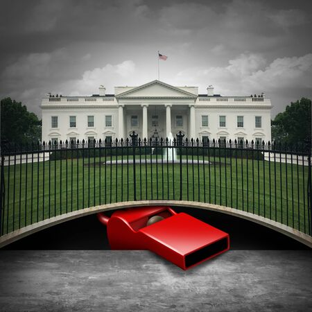 Whistleblower in the White House and deep state whistle blower political concept as an anonymous source or leaker and United States political symbol with 3D elements.