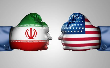 Iran US fight and middle east clash as a USA or United States crisis in the Persian gulf concept as an American and Iranian security problem due to economic sanctions and nuclear deal dispute in a 3D illustration style.