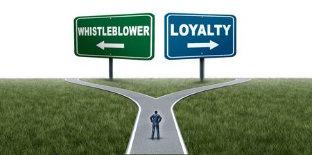 Loyalty or whistleblower choice as an employee choosing whistleblowing secret private wrongdoing  information or being loyal to a company or leadership with 3D illustration elements. Stockfoto - 132085168