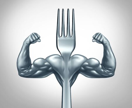 Eating fitness and power food symbol for strength workout or working out with nutritional supplement as a healthy fit lifestyle  as a fork with muscles with 3D illustration elements. Фото со стока