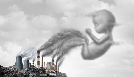 Pollution and pregnancy risk to the unborn fetus as polluted smoke stacks and toxic waste as an environmental danger to a mother and baby with 3D illustration elements. Stock fotó