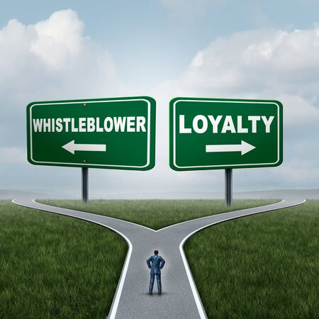 Whistleblower or loyalty choice as an employee choosing whistleblowing secret private wrongdoing  information or being loyal to a company or leadership with 3D illustration elements. Stockfoto - 132085176