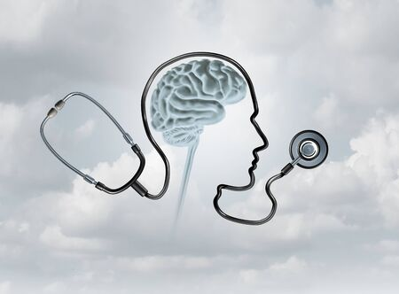 Mental health contept and brain disorder awareness as a healthcare or health care concept with 3D illustration elements. Imagens