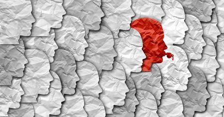 Concepto de empleado denunciante y símbolo denunciante que representa a una persona en la sociedad o una empresa que expone la corrupción como un silbato rojo con forma de cabeza humana en un estilo de ilustración 3D.