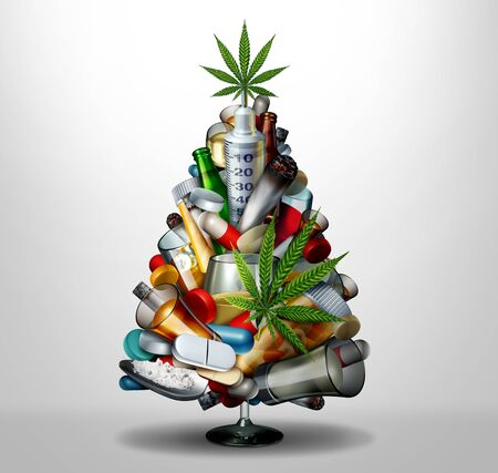 Addiction and drug abuse during Christmas holiday season and winter substance abuse as a medical health concept as a seasonal tree representing sobriety or alcohol consumption during the New Year as a 3D illustration. Stock Photo