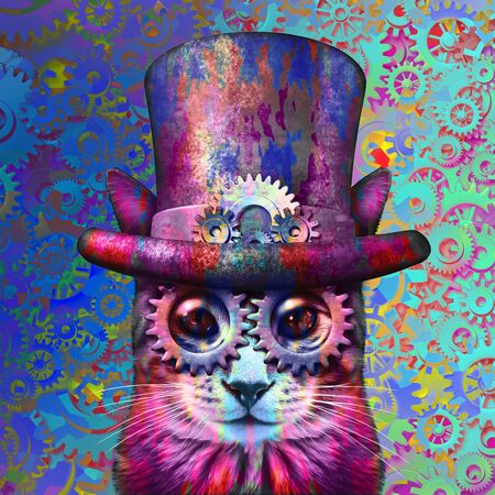 Steampunk cat psychedelic art and steam punk grunge kitten with 3D illustration elements. 写真素材