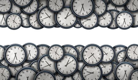 Time border planning and corporate or personal schedule symbol as a group of timepieces or clock objects in a horizontal composition as a 3D illustration. Stok Fotoğraf