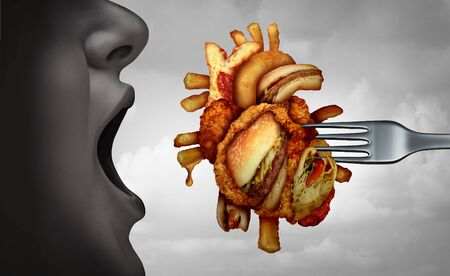 Diet and heart disease dangerous coronary fitness and unhealthy food concept with human cardiovascular anatomy organ made from fried fast food as a metaphor for poor nutrition with 3D illustration elements. Standard-Bild
