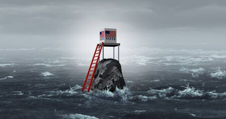 United States vote problem and voter suppression in the US as an election voting issue as a political policy for difficulty casting votes in the ballot box for presidential or congresional elections with 3D illustration elements.