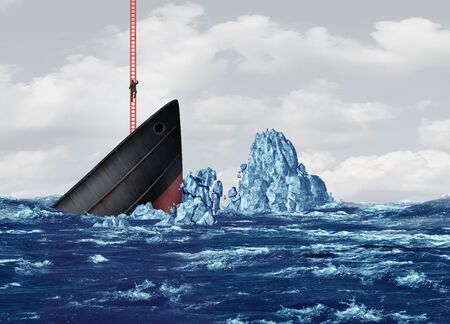 Business exit and strategy to leave or abandoning a sinking ship as a corporate metaphor for a way out of a crisis with 3D illustration elements.