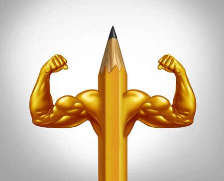Power of potential and creative strength or strong education concept symbol as a pencil with huge biceps and muscles representing business training empowering with 3D illustration elements.