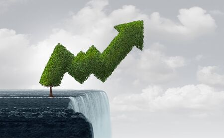 Growth in turbulent times and risky unstable market as a business success metaphor as a tree shaped as a precarious economic profit graph at the edge of a waterfall in a 3D illustration style.